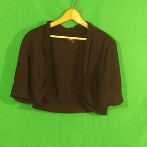 Torrid 1x black cropped 1/4 sleeve open cardigan